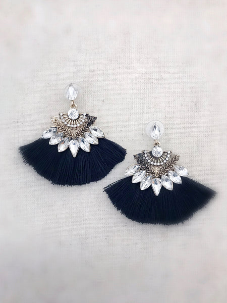 Kilauea Tassel Earrings {Black}