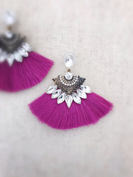 Kilauea Tassel Earrings {Pink}