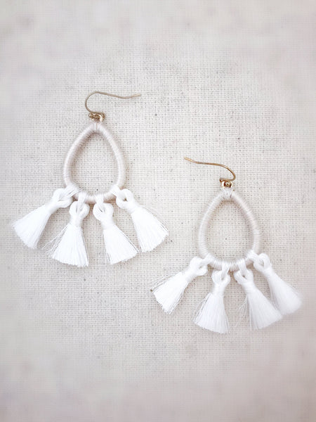 Kalapana Tassel Earrings {White}