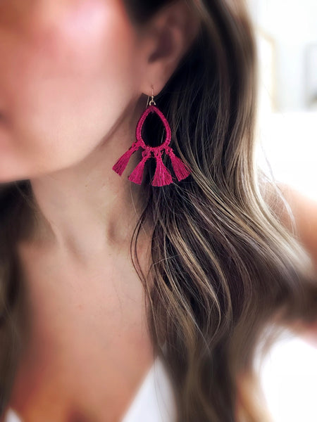 Kalapana Tassel Earrings {Burgundy}