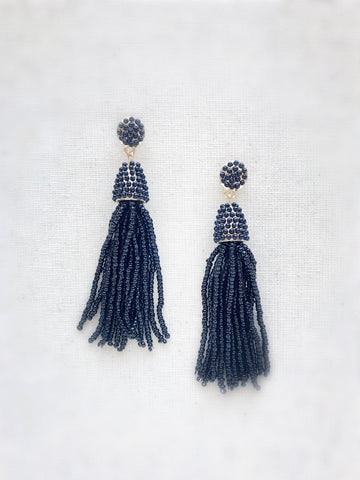 Waikiki Tassel Earrings {Black}