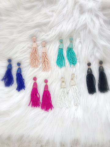 Waikiki Tassel Earrings {Blue}