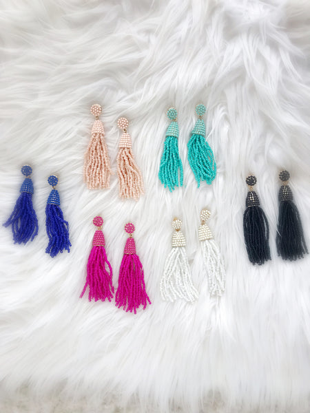 Waikiki Tassel Earrings {Peachy Blush}