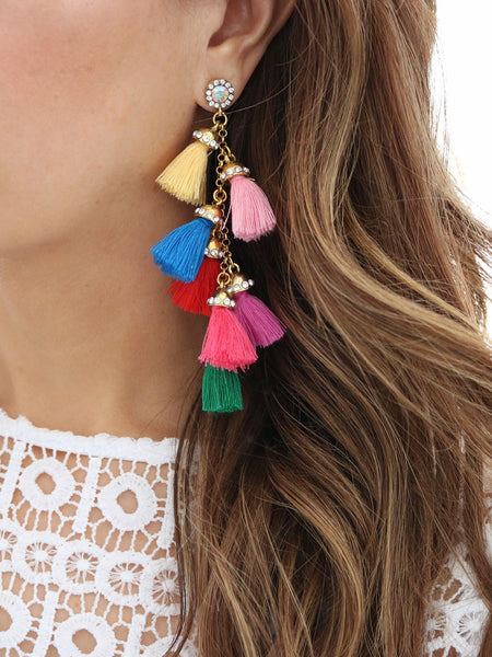 Tiered Tassel Earrings {Multicolor}