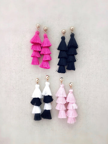 Tiered Tassel Earrings {Blush Pink}
