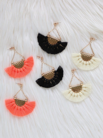 Anahola Tassel Earrings {Black}