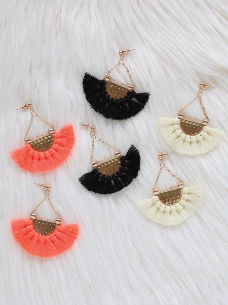 Anahola Tassel Earrings {Coral}