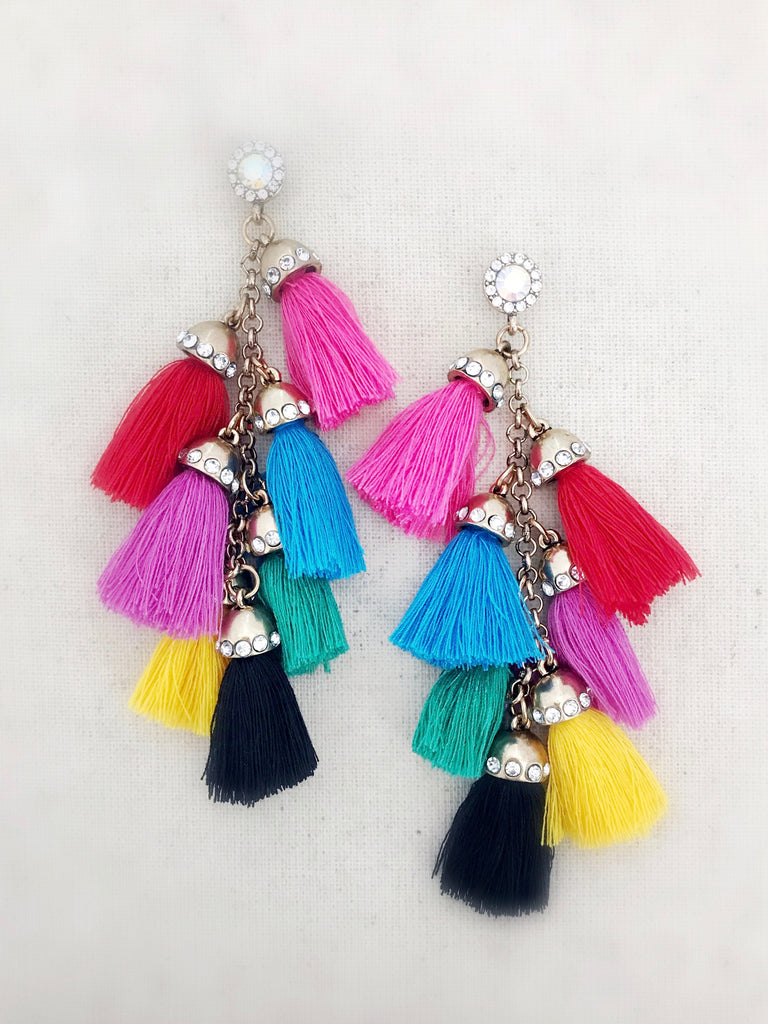 Waimea Tassel Earrings {Multicolor with Black}