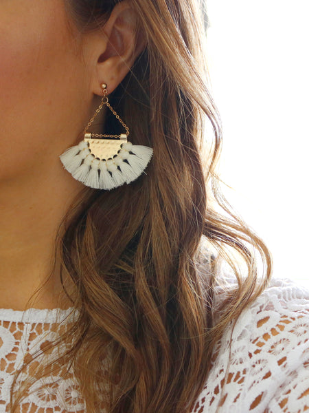 Anahola Tassel Earrings {Ivory}