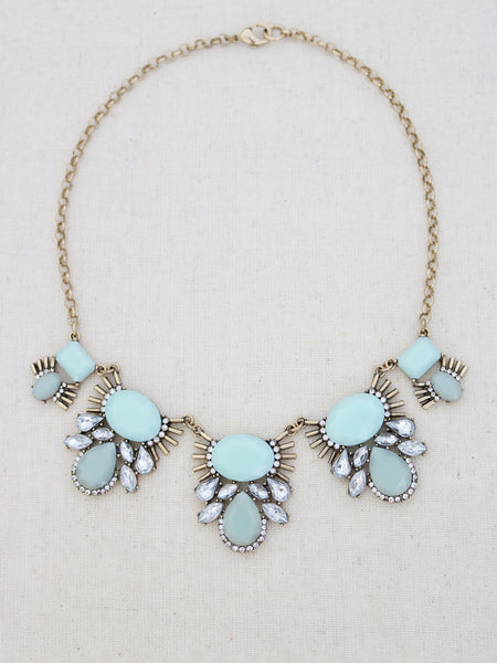 Mint Green statement necklace, gold statement necklace, statement necklace