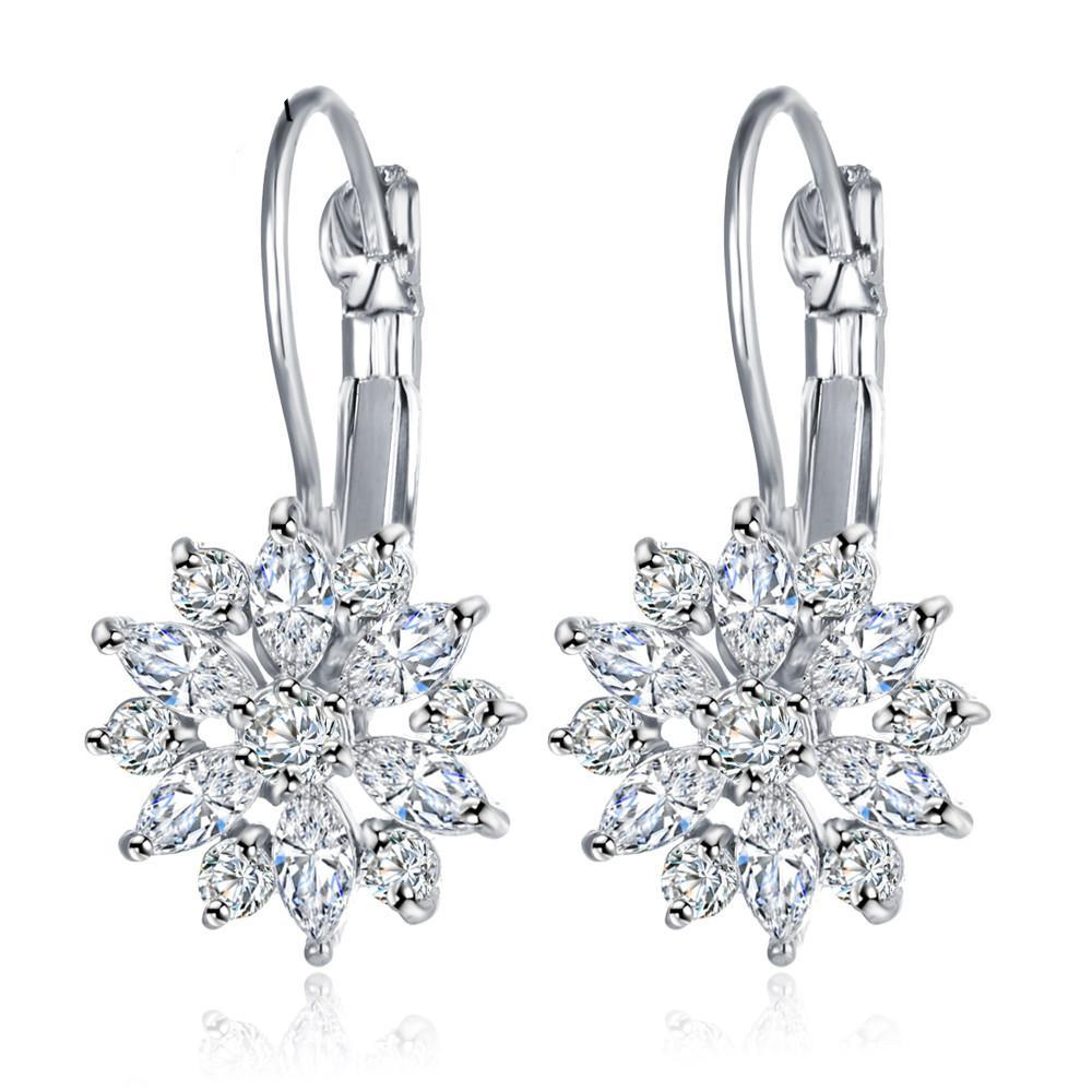 Crystal Flower Stud Earrings - CrazyPassionateAbout.com
