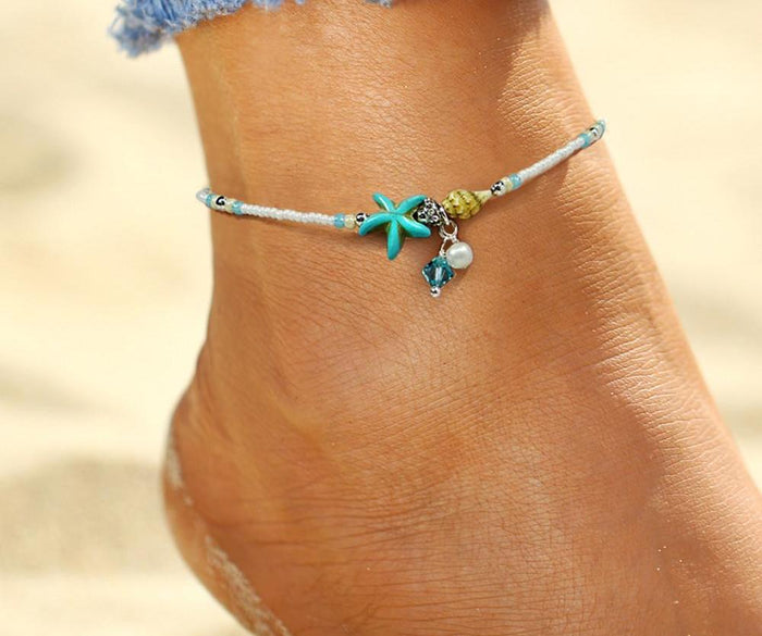 Beads Starfish Anklet - CrazyPassionateAbout.com