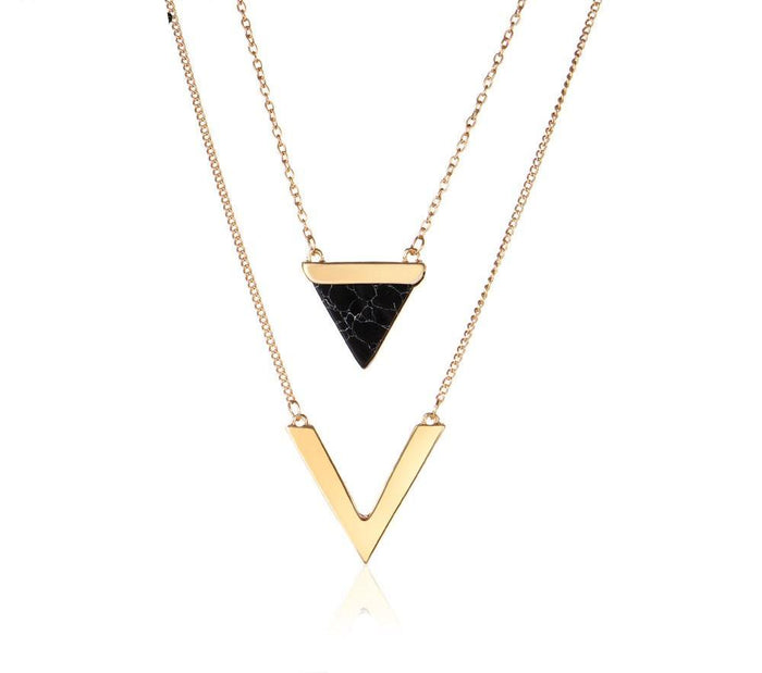 V Shape Layered Geometric Necklace - CrazyPassionateAbout.com