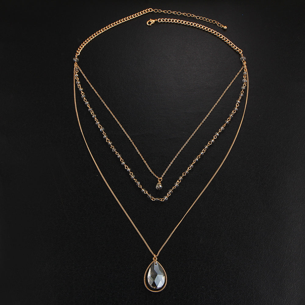 Gold Multilayer Crystal Necklace - CrazyPassionateAbout.com