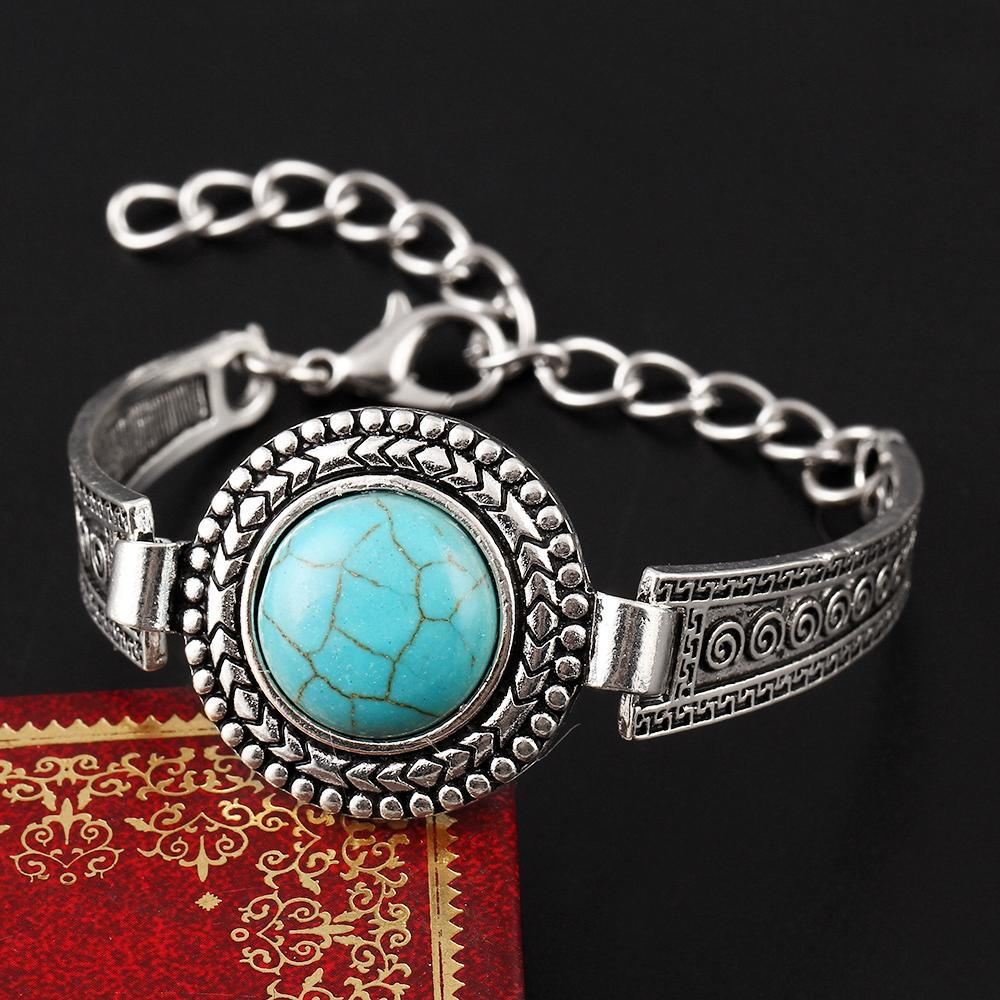 Tibetan Carved Blue Stone Bangle - CrazyPassionateAbout.com