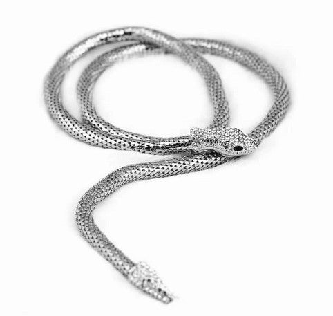 Crystal Snake Long Necklace - CrazyPassionateAbout.com