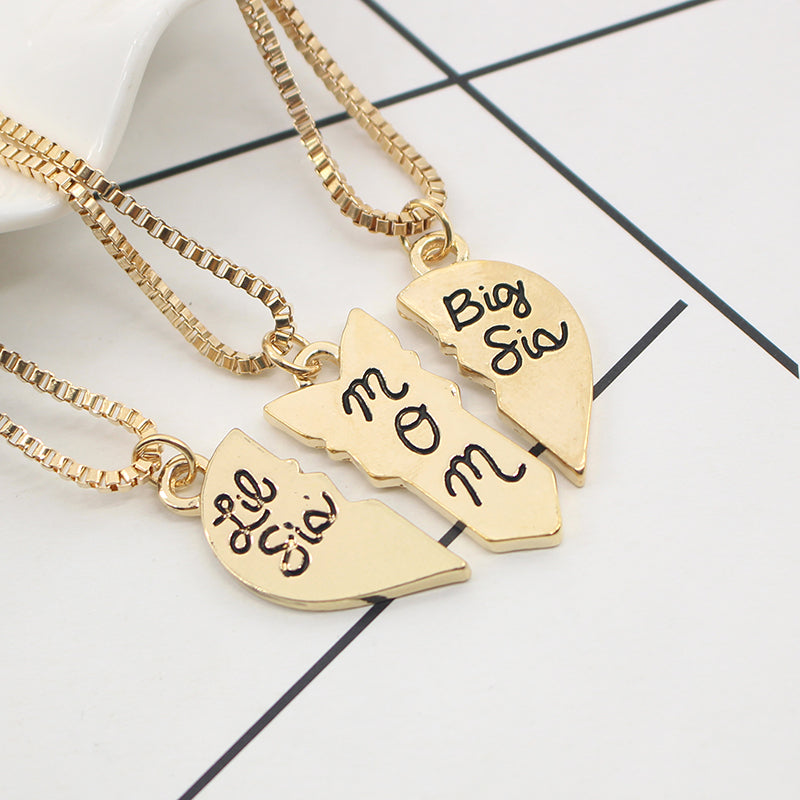 3Pcs Mom Sister Heart Necklace - CrazyPassionateAbout.com