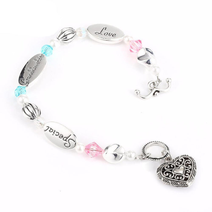 Granddaughter Heart Charm Bracelet - CrazyPassionateAbout.com