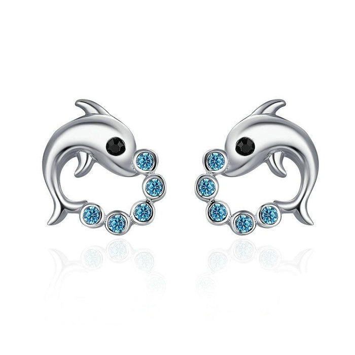 Dolphin Love Ball Earrings - CrazyPassionateAbout.com