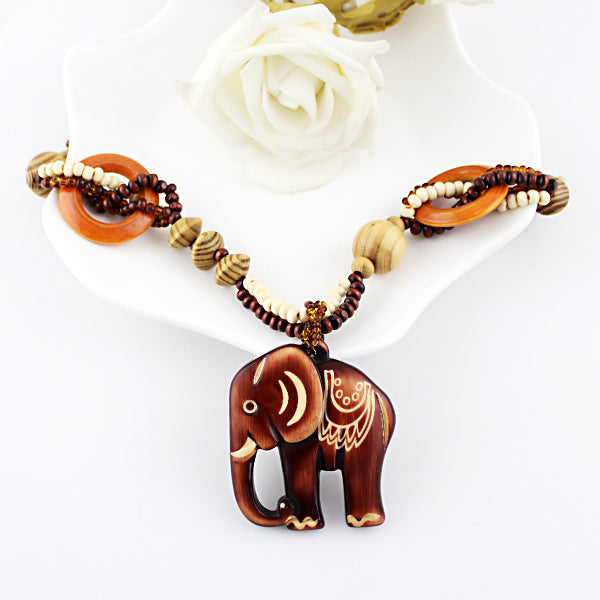 Beaded Wood Elephant Necklace - CrazyPassionateAbout.com