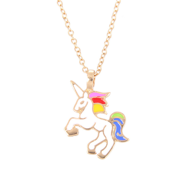 Enamel Unicorn Pendant Necklace - CrazyPassionateAbout.com