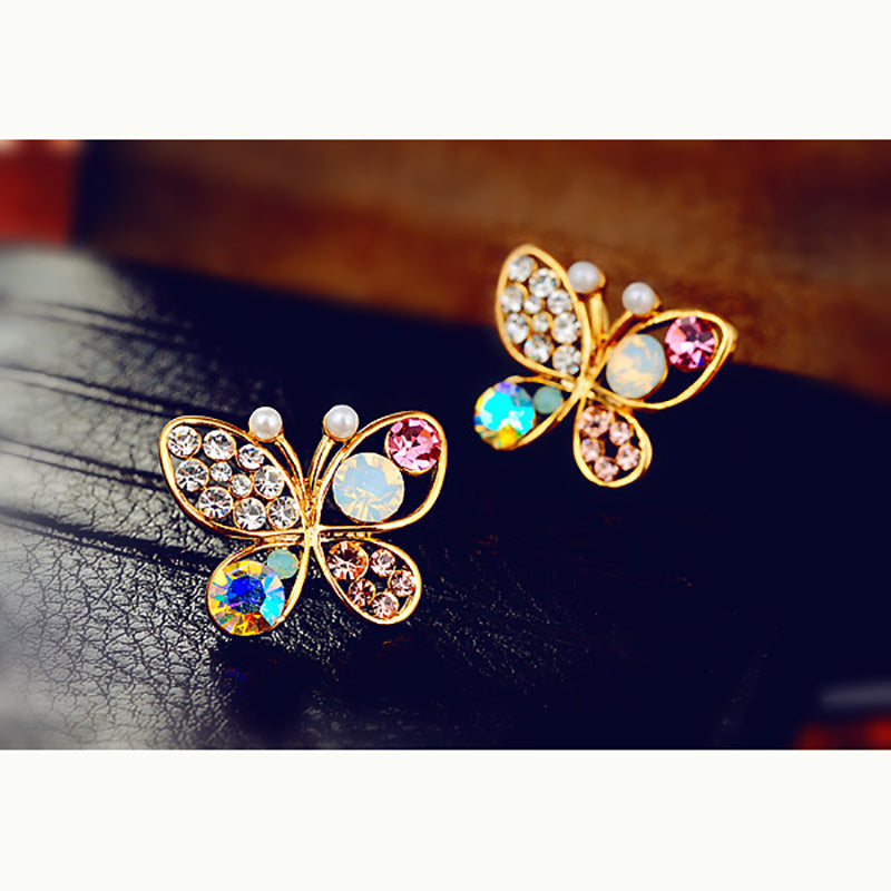 Crystal Pearl Butterfly Earrings - CrazyPassionateAbout.com