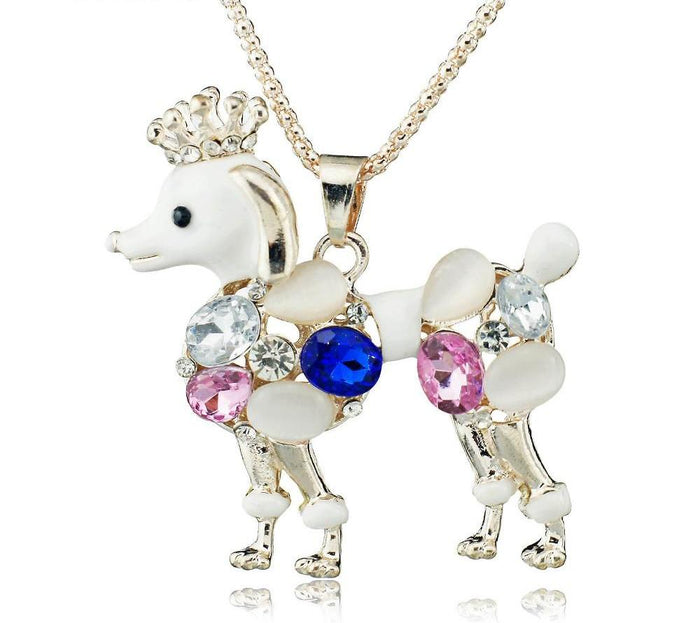 Poodle Lovely Crystal Necklace - CrazyPassionateAbout.com