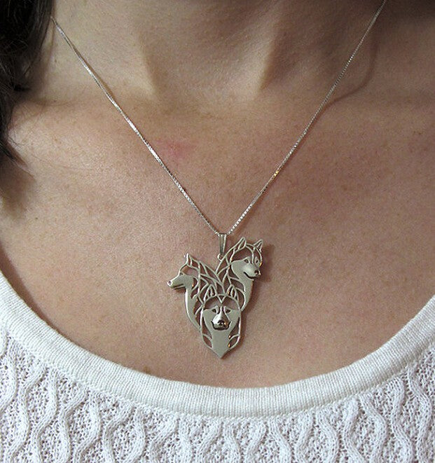 Siberian Husky Family Necklace - CrazyPassionateAbout.com