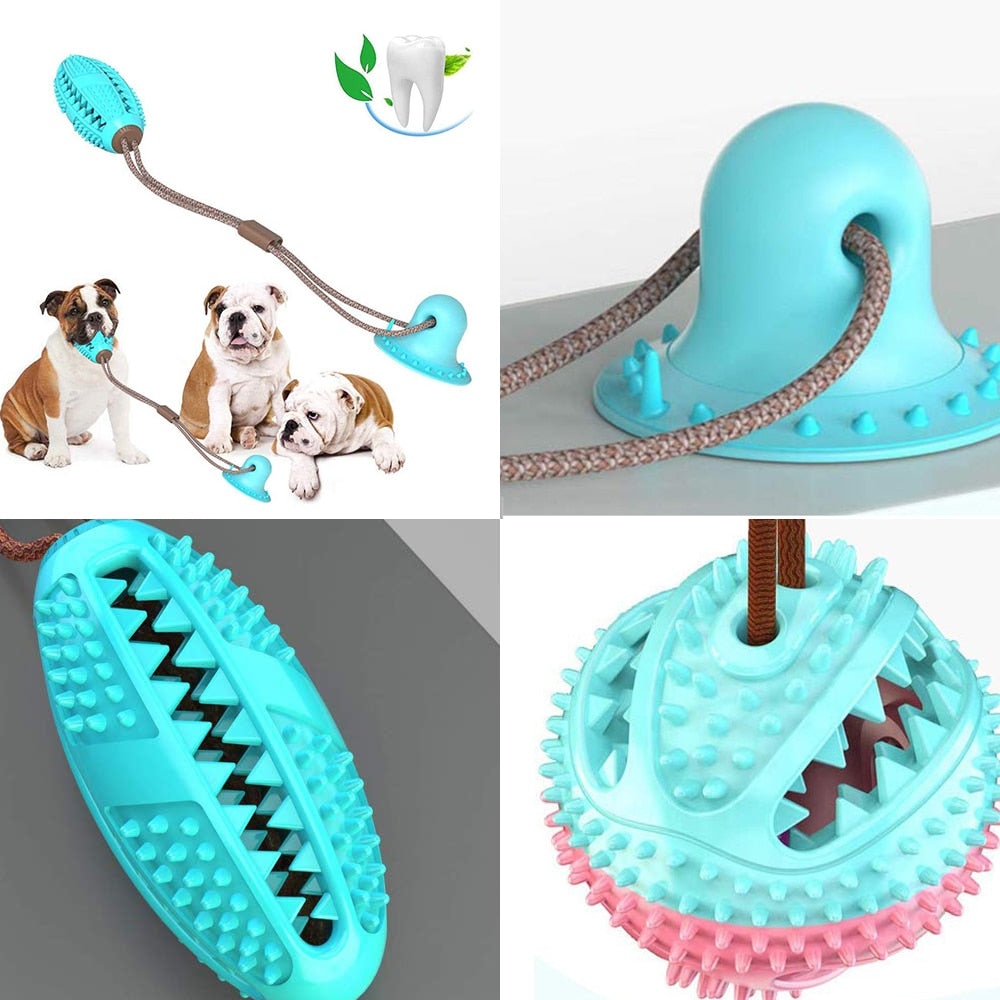 Puppy or Large Dog Silicon Suction Cup Tug Ball Tooth Cleaning Toothbrush Biting Toy