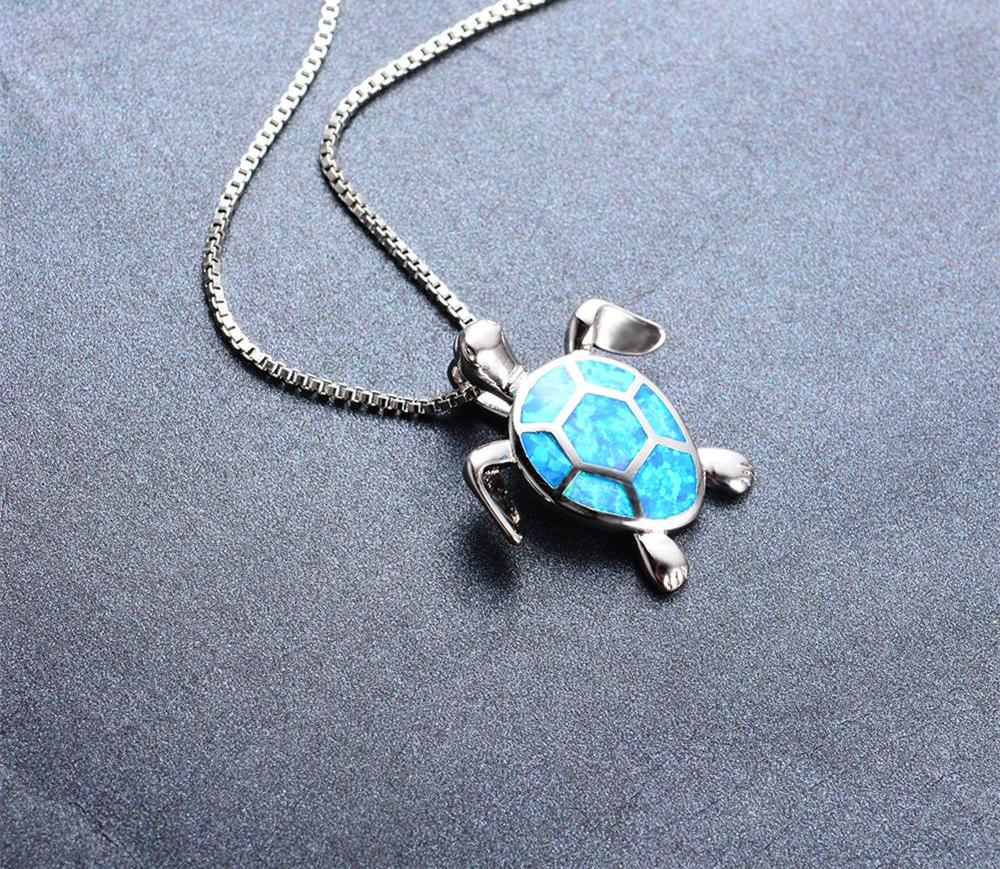 Blue Opal Turtle Necklace - CrazyPassionateAbout.com