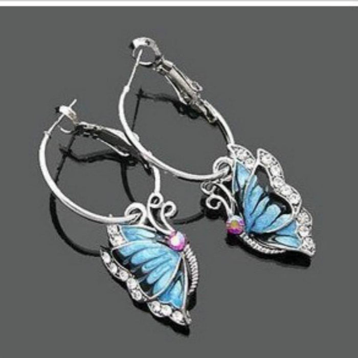 Blue Butterfly Earrings - CrazyPassionateAbout.com