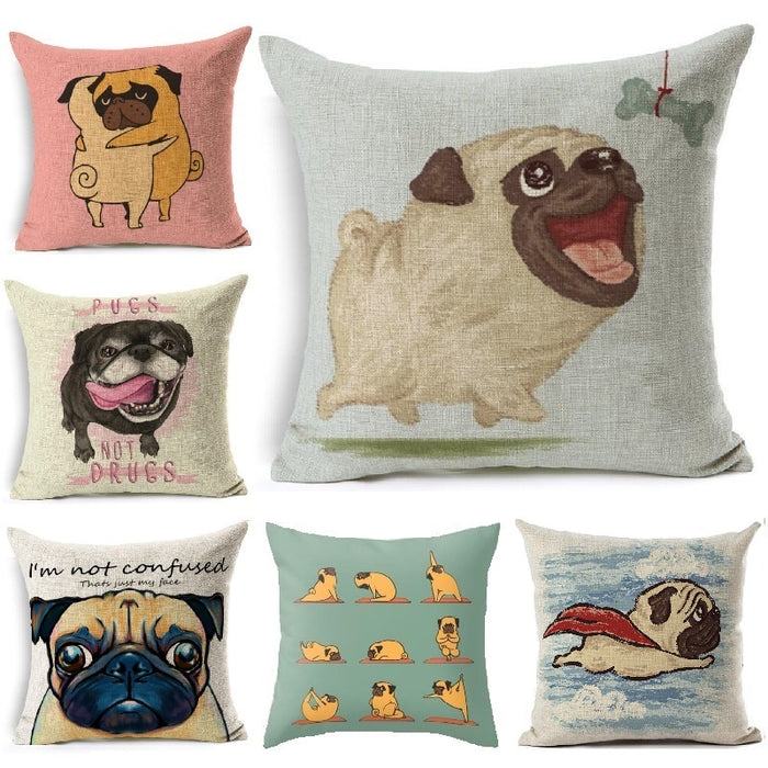 New Printed Pugs Throw Pillow Cover - CrazyPassionateAbout.com