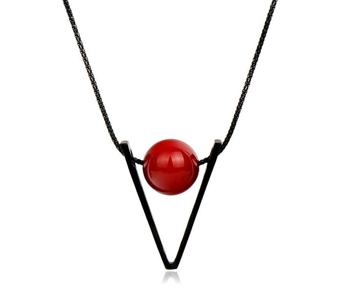 Long Red Ball Necklace - CrazyPassionateAbout.com