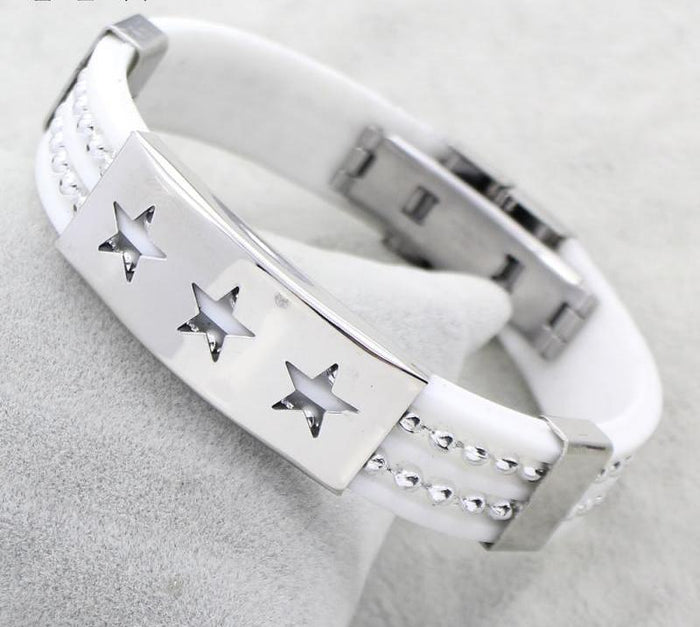 White Silicone Leather Bracelet - CrazyPassionateAbout.com