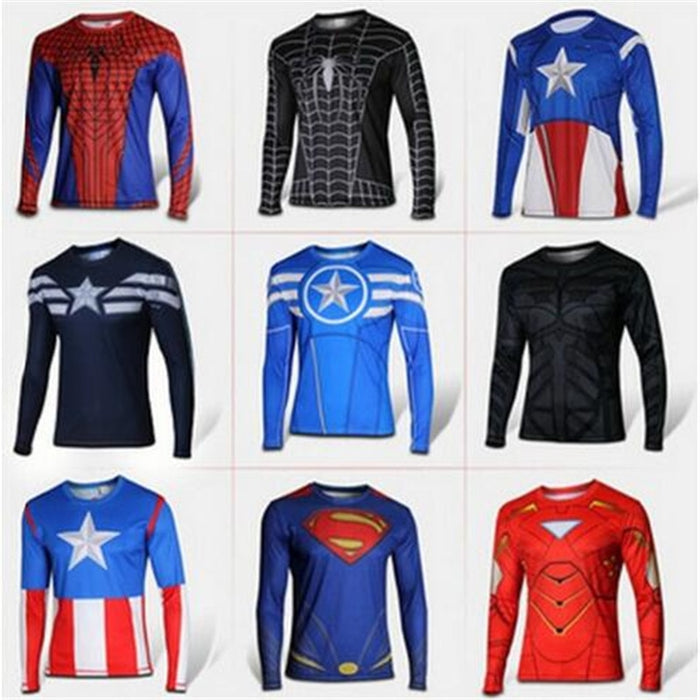 Marvel Comics Super Heroes Captain America Spiderman Superman Batman Iron Man Long Sleeve T Shirt Clothing Costume Tee Shirt - CrazyPassionateAbout.com