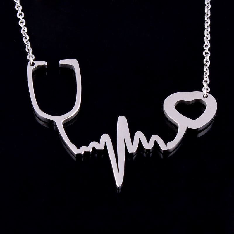 Heartbeat Stethoscope Necklace - CrazyPassionateAbout.com