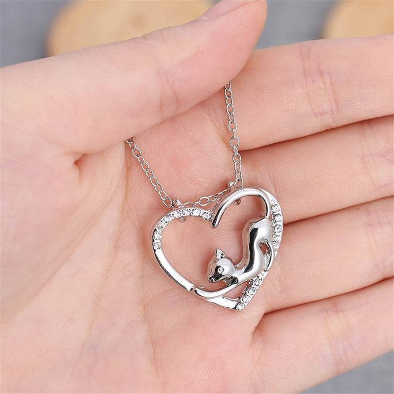 Love Cat Pendant Necklace - CrazyPassionateAbout.com