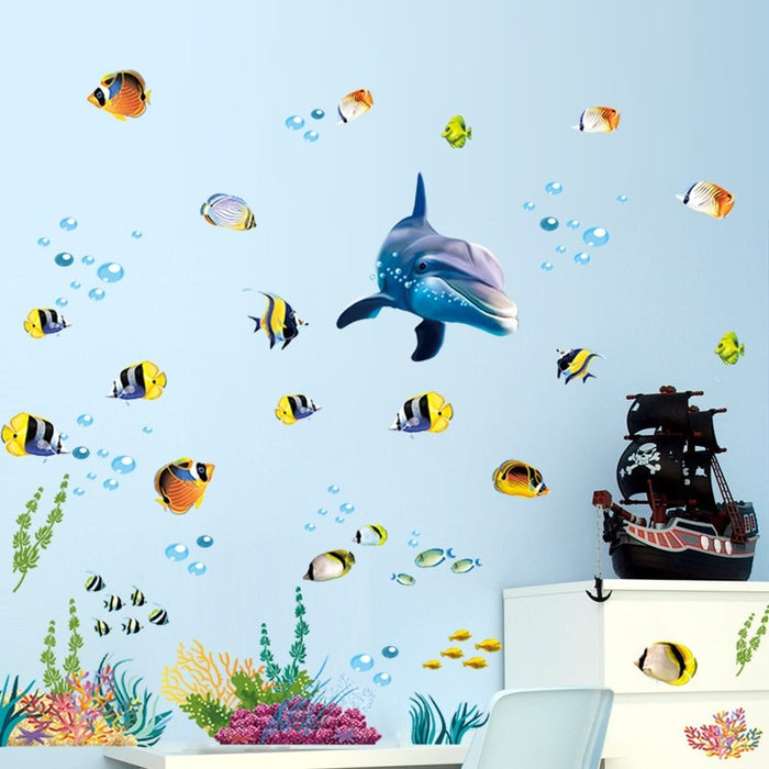 Waterproof bathroom kitchen wall sticker ocean deep water sea home decor stickers dolphin fish decorative decal mural kids room - CrazyPassionateAbout.com
