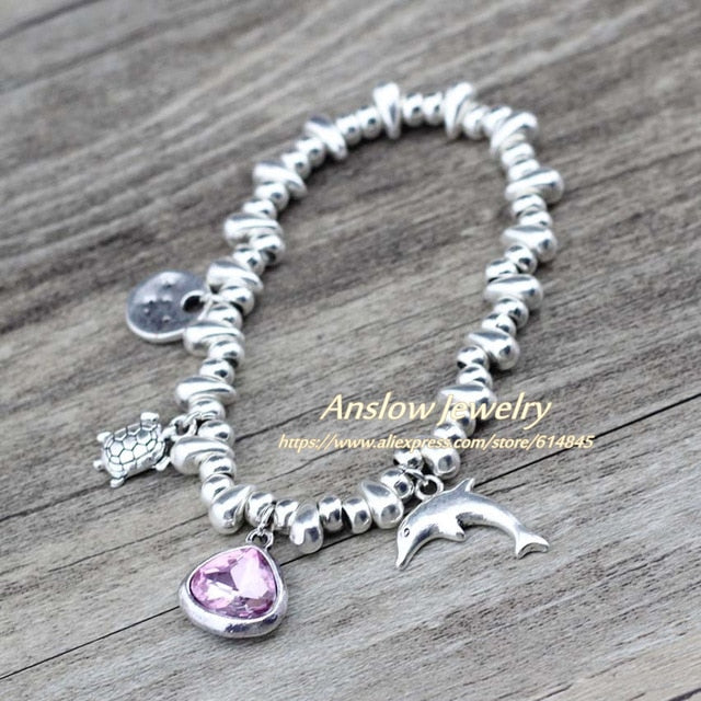 Anslow Brand Dolphin Tortoise Charms DIY Adjustable Crystal Heart Girl Students Bracelet For Women Lady Kid Gift  LOW0773LB - CrazyPassionateAbout.com