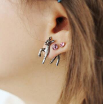 Unique Punk Alien Dinosaur Animal Cat Dog Deer Dolphin Horse Spider Ax 3D Stud Earring Metal Puncture Earrings Unisex Jewelry - CrazyPassionateAbout.com