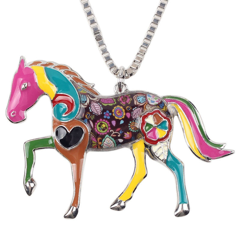 Geometric Horse Necklace Chain - CrazyPassionateAbout.com
