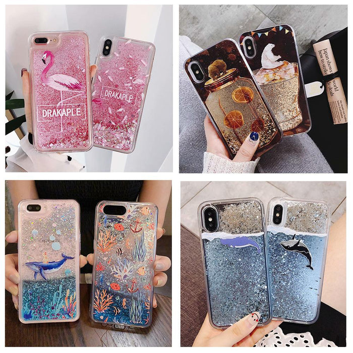 Water Liquid Case for iPhone 11 Pro XS Max XR XS 7 8 6 6s Plus Dolphin Whale Fish Floral Flamigo Quicksand Glitter Soft Cover - CrazyPassionateAbout.com