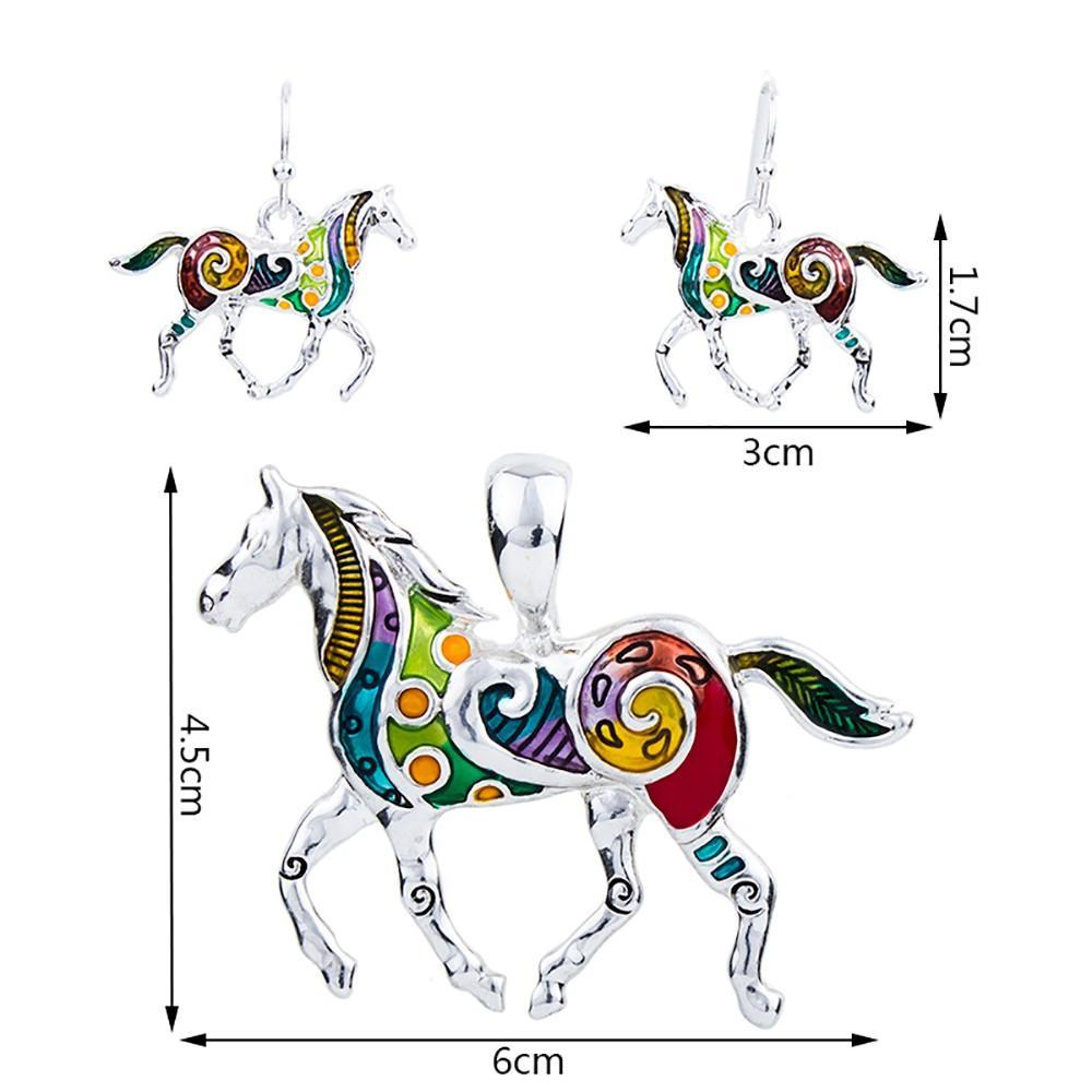 Multicolor Horse Necklace & Earring Set - CrazyPassionateAbout.com