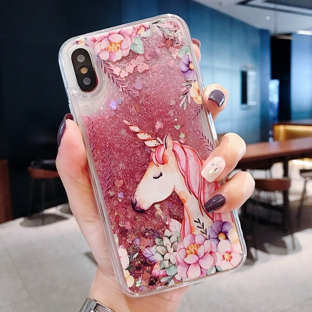 Dolphin Liquid Case For iPhone 11 Pro X XR XS Max Quicksand Case For iPhone 5 S Glitter Case For iPhone 6 S 6S Plus 5S 5 SE 5SE - CrazyPassionateAbout.com