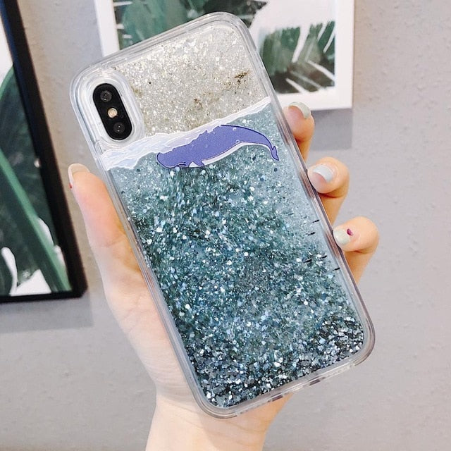 Quicksand Cartoon Dolphin Phone Case and Glitter Sequins Cover For iPhones. - CrazyPassionateAbout.com