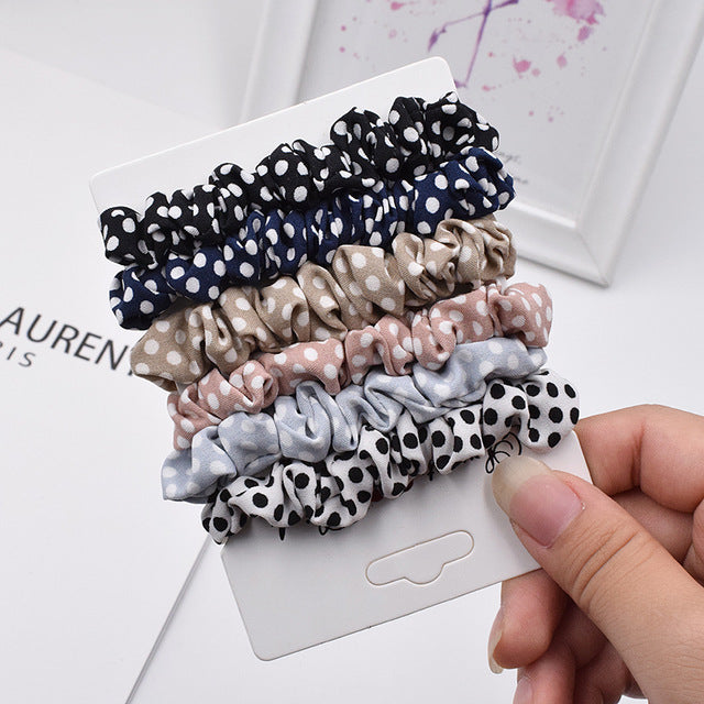6 Piece Lot of Basic Leopard Elastic Hair Ponytail Holders For Girls and Women - CrazyPassionateAbout.com