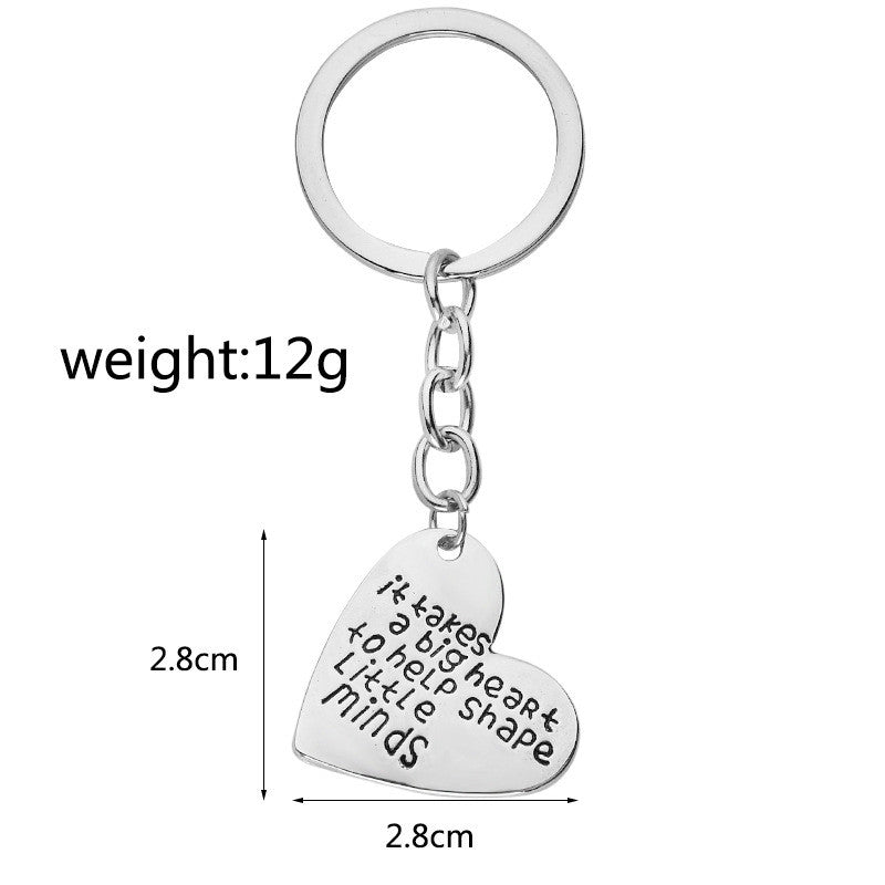Heart Shaped Engraved Key Chain For Teachers - CrazyPassionateAbout.com