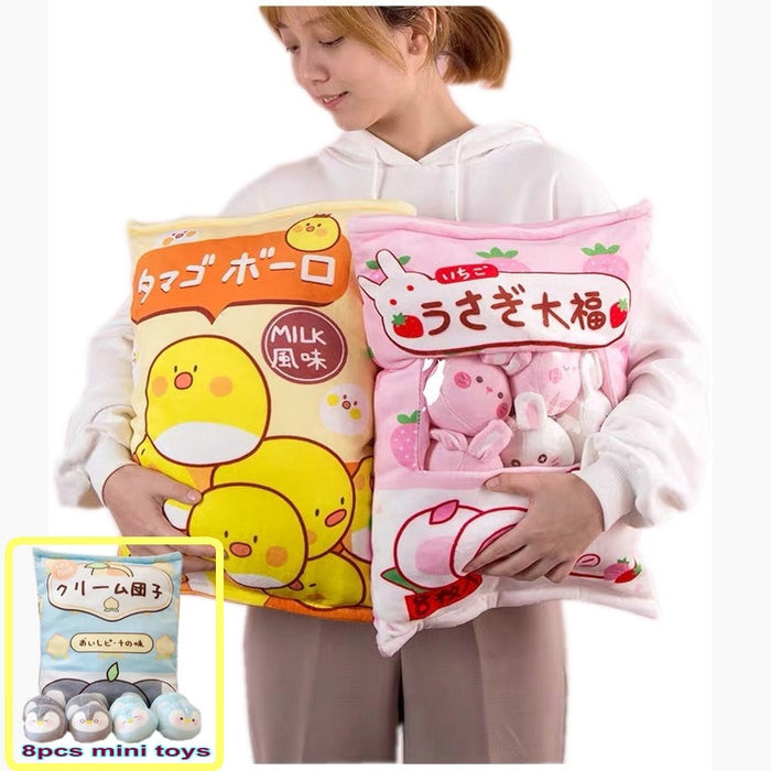 8 Piece Bag of Mini Plush Toy Penguin Throw Pillow and Brown Bear Pudding Doll For Girl Birthday - CrazyPassionateAbout.com