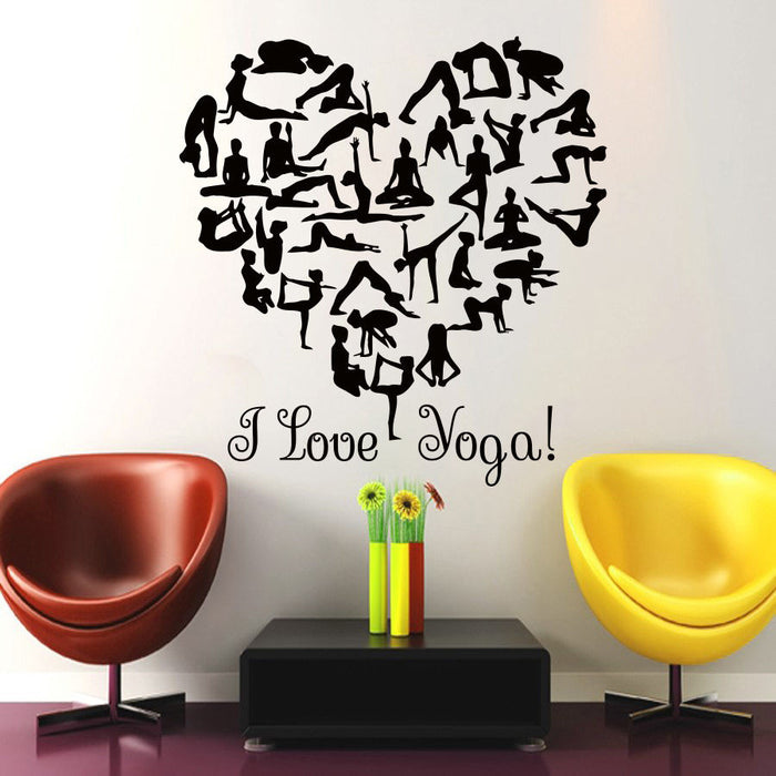 "Creative Wall Decals - ""I Love Yoga"" Black Vinyl Wall Decal - CrazyPassionateAbout.com"