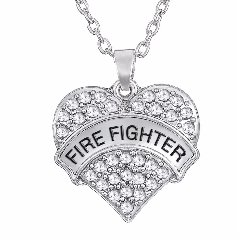 Fire Fighter Heart Necklaces - CrazyPassionateAbout.com